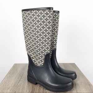 Tory Burch Jacquard Rain Boots Black Cream Sz 8
